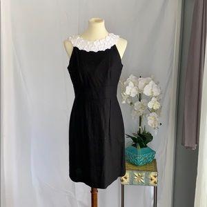 Black linen dress white lace neckline midi size 8